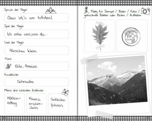 Mein Alpentagebuch - Für alle Wander-Erlebnisse in den Bergen (Innenansicht)