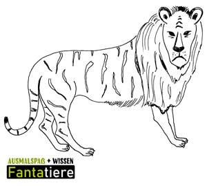 Ausmalspaß + Wissen: Fantatiere. Säugetiere: Löwe-Tiger Liger